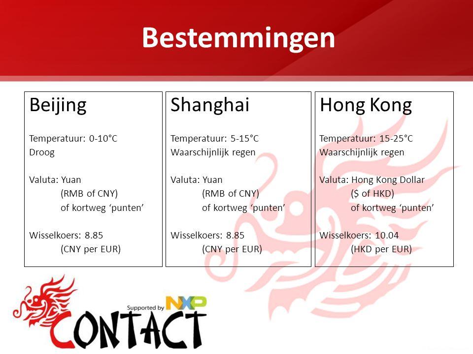 Bestemmingen Beijing Temperatuur: 0-10°C Droog Valuta: Yuan (RMB of CNY) of kortweg 'punten' Wisselkoers: 8.85 (CNY per EUR) Shanghai Temperatuur: 5-15°C Waarschijnlijk regen Valuta: Yuan (RMB of CNY) of kortweg 'punten' Wisselkoers: 8.85 (CNY per EUR) Hong Kong Temperatuur: 15-25°C Waarschijnlijk regen Valuta: Hong Kong Dollar ($ of HKD) of kortweg 'punten' Wisselkoers: 10.04 (HKD per EUR)
