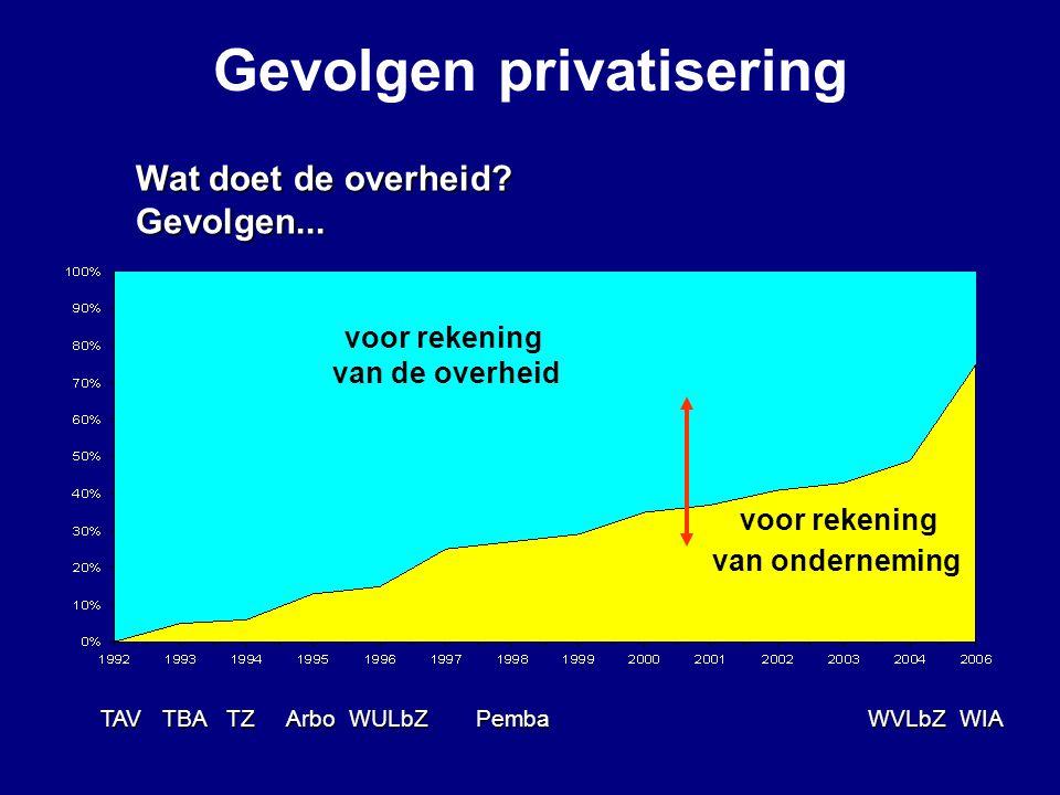 Wat doet de overheid? Gevolgen... voor rekening van de overheid voor rekening van onderneming TAV TBA TZ Arbo WULbZ Pemba WVLbZ WIA Gevolgen privatise