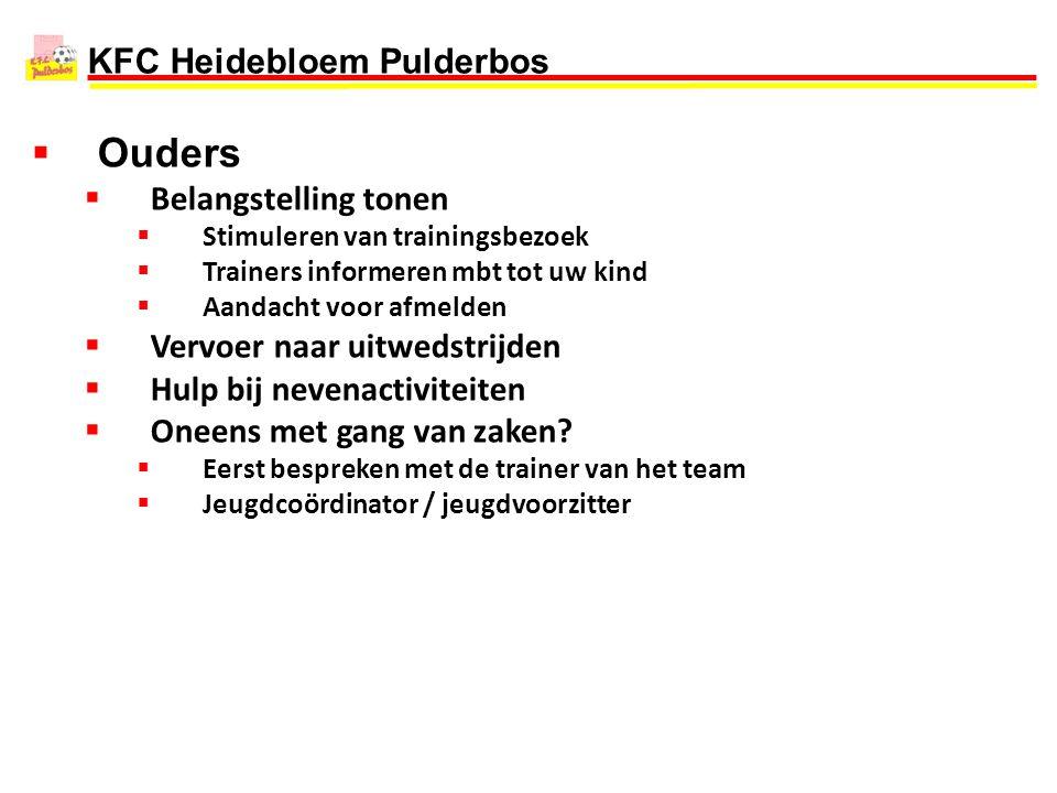 KFC Heidebloem Pulderbos  Ouders  Belangstelling tonen  Stimuleren van trainingsbezoek  Trainers informeren mbt tot uw kind  Aandacht voor afmeld