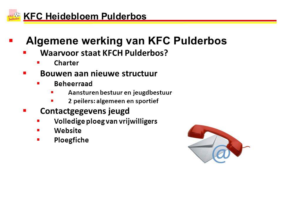 KFC Heidebloem Pulderbos  Algemene werking van KFC Pulderbos  Waarvoor staat KFCH Pulderbos?  Charter  Bouwen aan nieuwe structuur  Beheerraad 