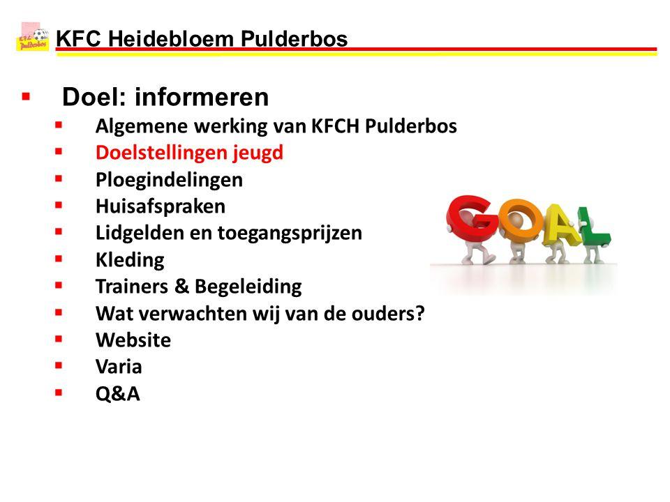 KFC Heidebloem Pulderbos  Doel: informeren  Algemene werking van KFCH Pulderbos  Doelstellingen jeugd  Ploegindelingen  Huisafspraken  Lidgelden