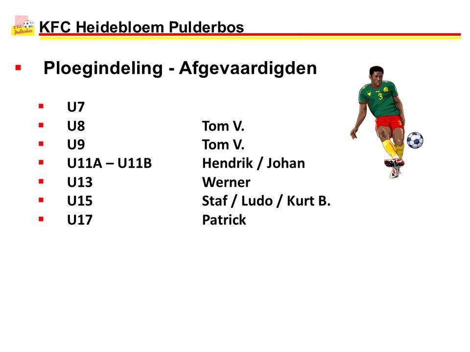 KFC Heidebloem Pulderbos  Ploegindeling - Afgevaardigden  U7  U8Tom V.  U9Tom V.  U11A – U11BHendrik / Johan  U13Werner  U15Staf / Ludo / Kurt