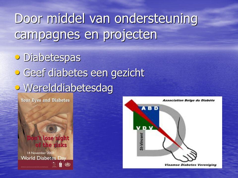 Door middel van ondersteuning campagnes en projecten • Diabetespas • Geef diabetes een gezicht • Werelddiabetesdag