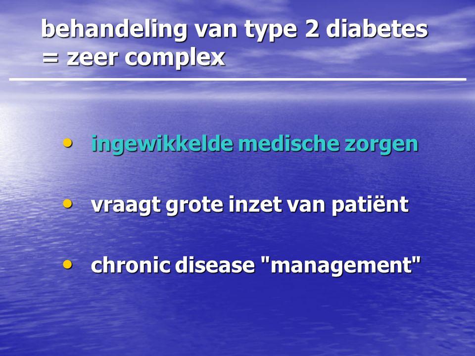 behandeling van type 2 diabetes = zeer complex • ingewikkelde medische zorgen • vraagt grote inzet van patiënt • chronic disease