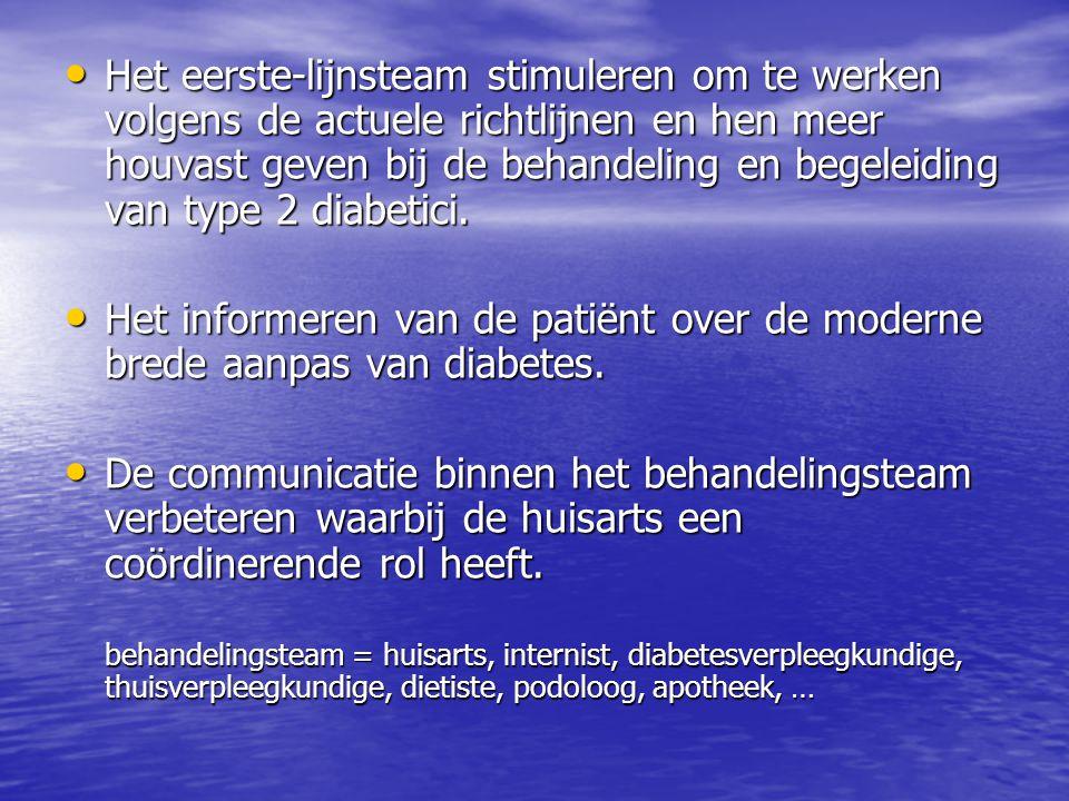 • Het eerste-lijnsteam stimuleren om te werken volgens de actuele richtlijnen en hen meer houvast geven bij de behandeling en begeleiding van type 2 d