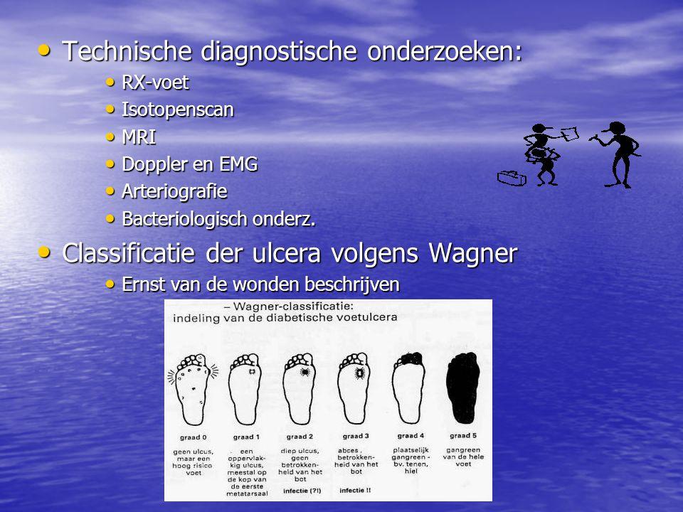 • Technische diagnostische onderzoeken: • RX-voet • Isotopenscan • MRI • Doppler en EMG • Arteriografie • Bacteriologisch onderz. • Classificatie der