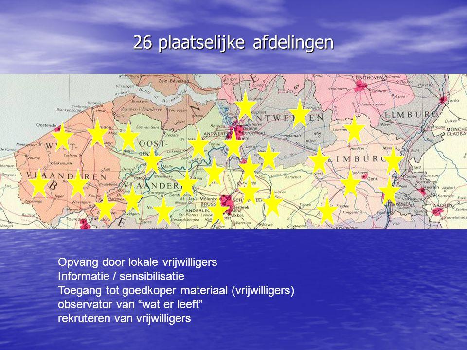 26 plaatselijke afdelingen Opvang door lokale vrijwilligers Informatie / sensibilisatie Toegang tot goedkoper materiaal (vrijwilligers) observator van
