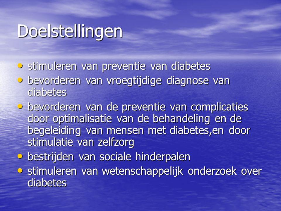 Doelstellingen • stimuleren van preventie van diabetes • bevorderen van vroegtijdige diagnose van diabetes • bevorderen van de preventie van complicat