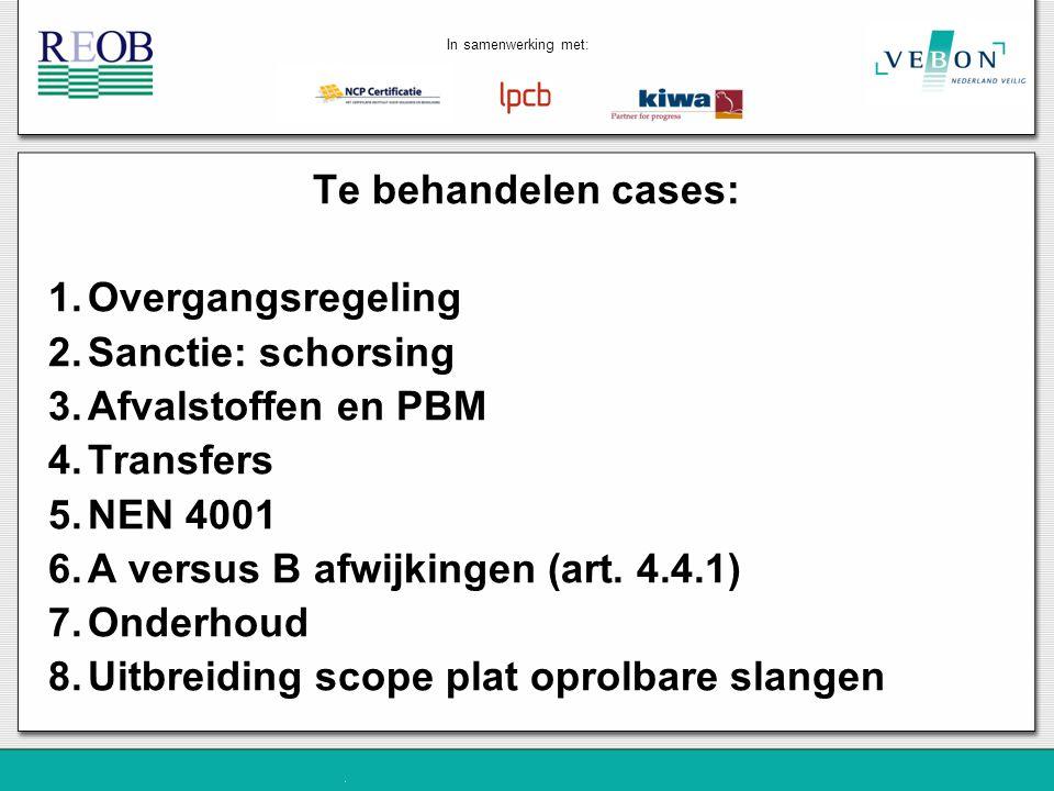 Te behandelen cases: 1.Overgangsregeling 2.Sanctie: schorsing 3.Afvalstoffen en PBM 4.Transfers 5.NEN 4001 6.A versus B afwijkingen (art. 4.4.1) 7.Ond