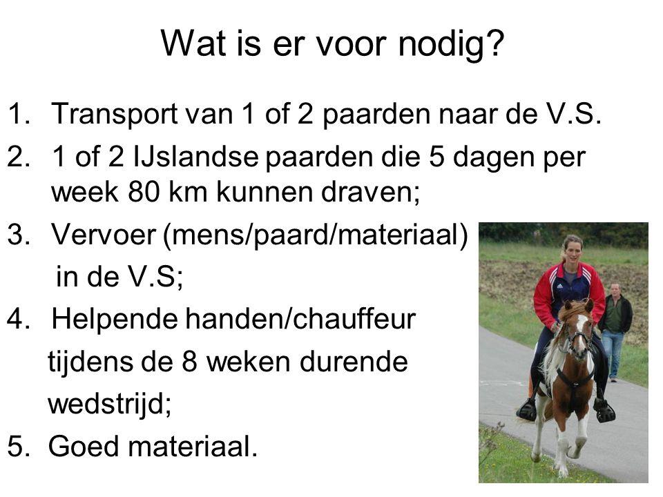 Wat is er voor nodig? 1.Transport van 1 of 2 paarden naar de V.S. 2.1 of 2 IJslandse paarden die 5 dagen per week 80 km kunnen draven; 3.Vervoer (mens