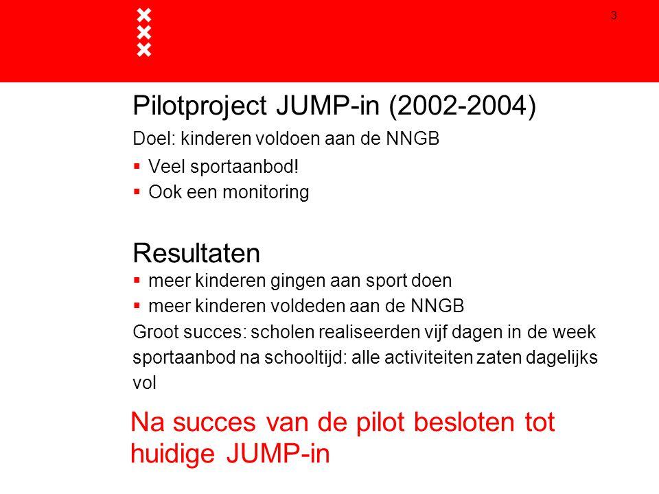 3 Pilotproject JUMP-in (2002-2004) Doel: kinderen voldoen aan de NNGB  Veel sportaanbod!  Ook een monitoring Resultaten  meer kinderen gingen aan s