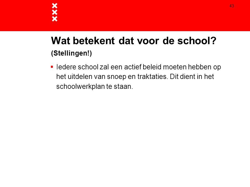 43  Iedere school zal een actief beleid moeten hebben op het uitdelen van snoep en traktaties. Dit dient in het schoolwerkplan te staan. Wat betekent