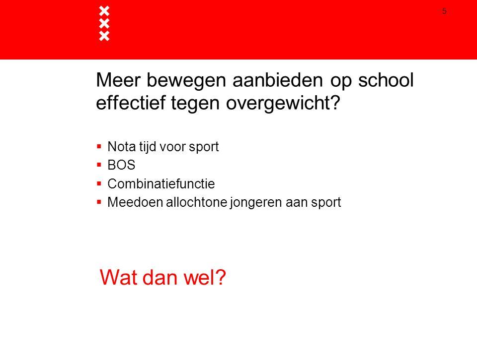 5 Meer bewegen aanbieden op school effectief tegen overgewicht?  Nota tijd voor sport  BOS  Combinatiefunctie  Meedoen allochtone jongeren aan spo