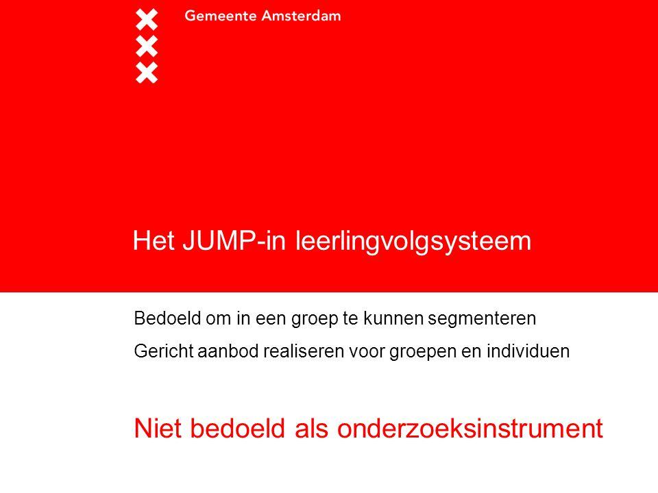 Het JUMP-in leerlingvolgsysteem Bedoeld om in een groep te kunnen segmenteren Gericht aanbod realiseren voor groepen en individuen Niet bedoeld als on