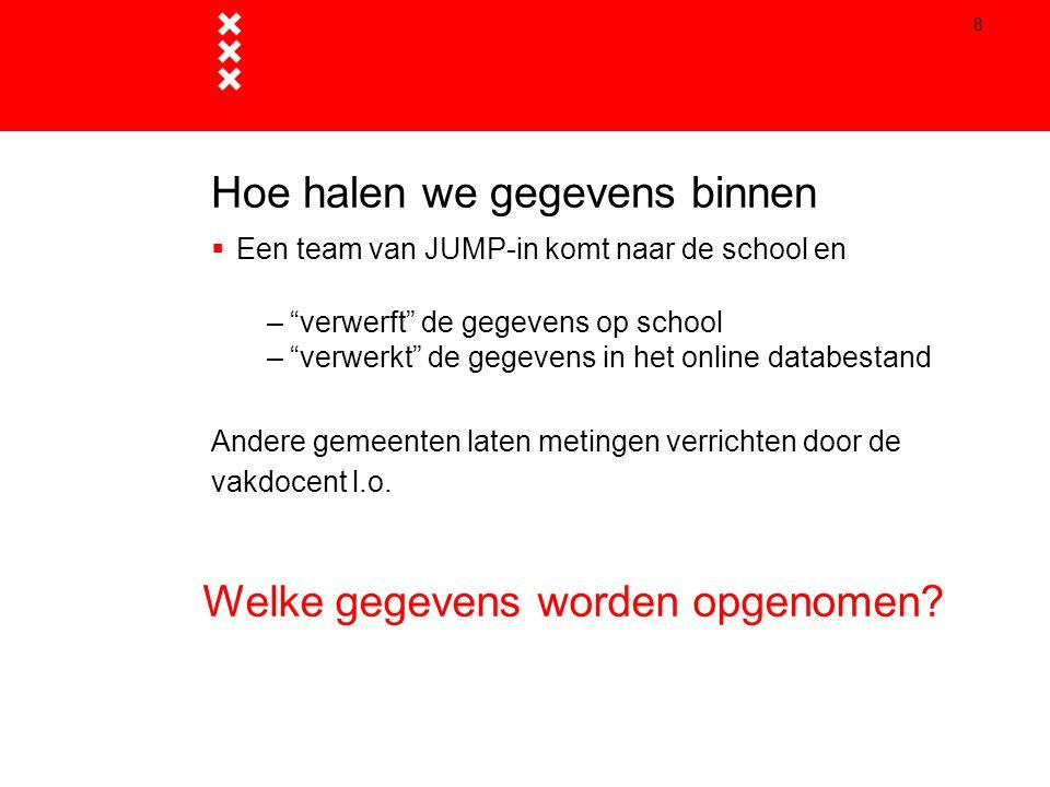 """8 Hoe halen we gegevens binnen  Een team van JUMP-in komt naar de school en –""""verwerft"""" de gegevens op school –""""verwerkt"""" de gegevens in het online d"""