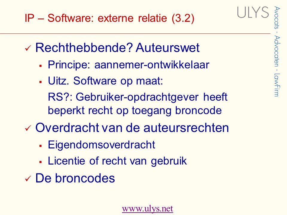 www.ulys.net IP – Software: externe relatie (3.2)  Rechthebbende.