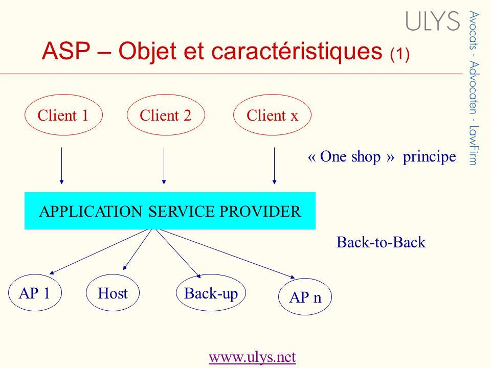 www.ulys.net ASP – Objet et caractéristiques (1) Client 1Client 2Client x APPLICATION SERVICE PROVIDER AP 1HostBack-up AP n « One shop » principe Back-to-Back