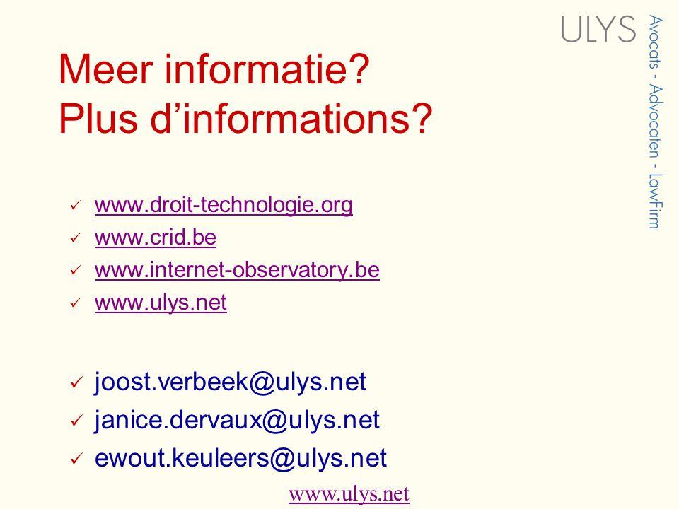 www.ulys.net Meer informatie. Plus d'informations.