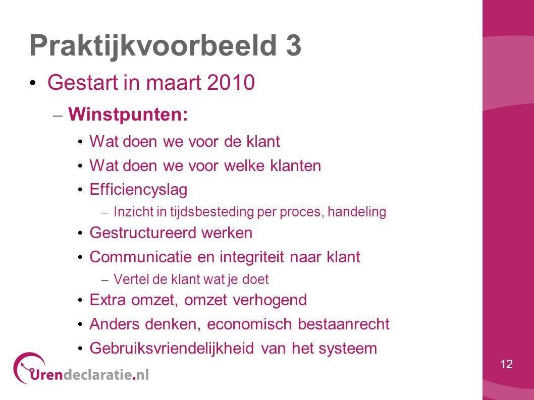 12 Praktijkvoorbeeld 3 • Gestart in maart 2010 – Winstpunten: • Wat doen we voor de klant • Wat doen we voor welke klanten • Efficiencyslag – Inzicht