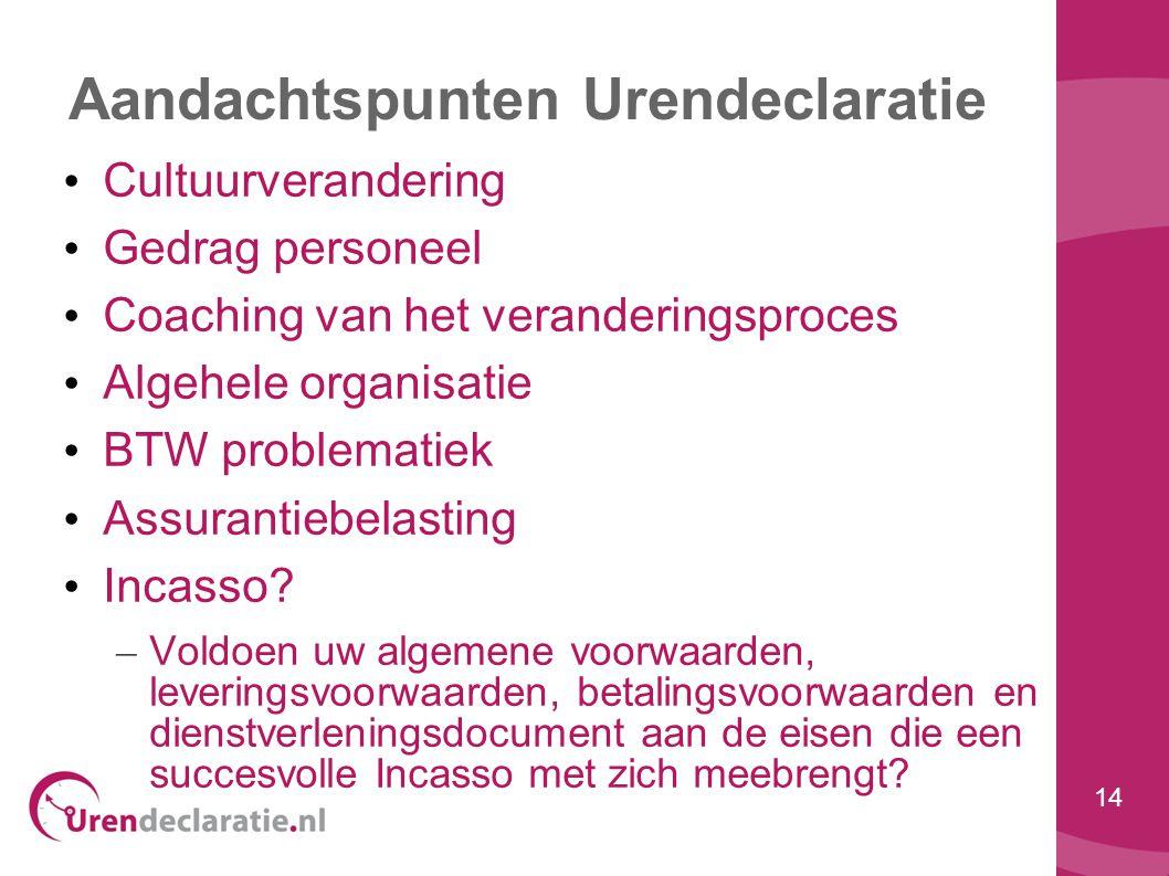 14 Aandachtspunten Urendeclaratie • Cultuurverandering • Gedrag personeel • Coaching van het veranderingsproces • Algehele organisatie • BTW problemat