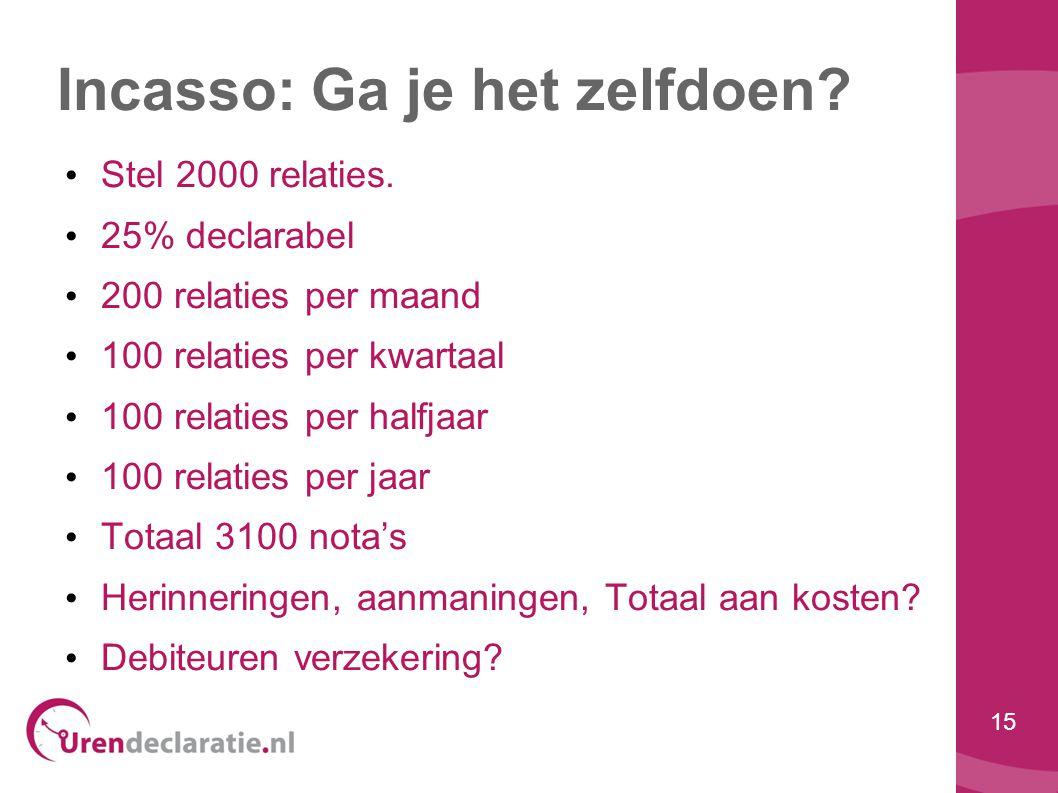 15 Incasso: Ga je het zelfdoen? • Stel 2000 relaties. • 25% declarabel • 200 relaties per maand • 100 relaties per kwartaal • 100 relaties per halfjaa