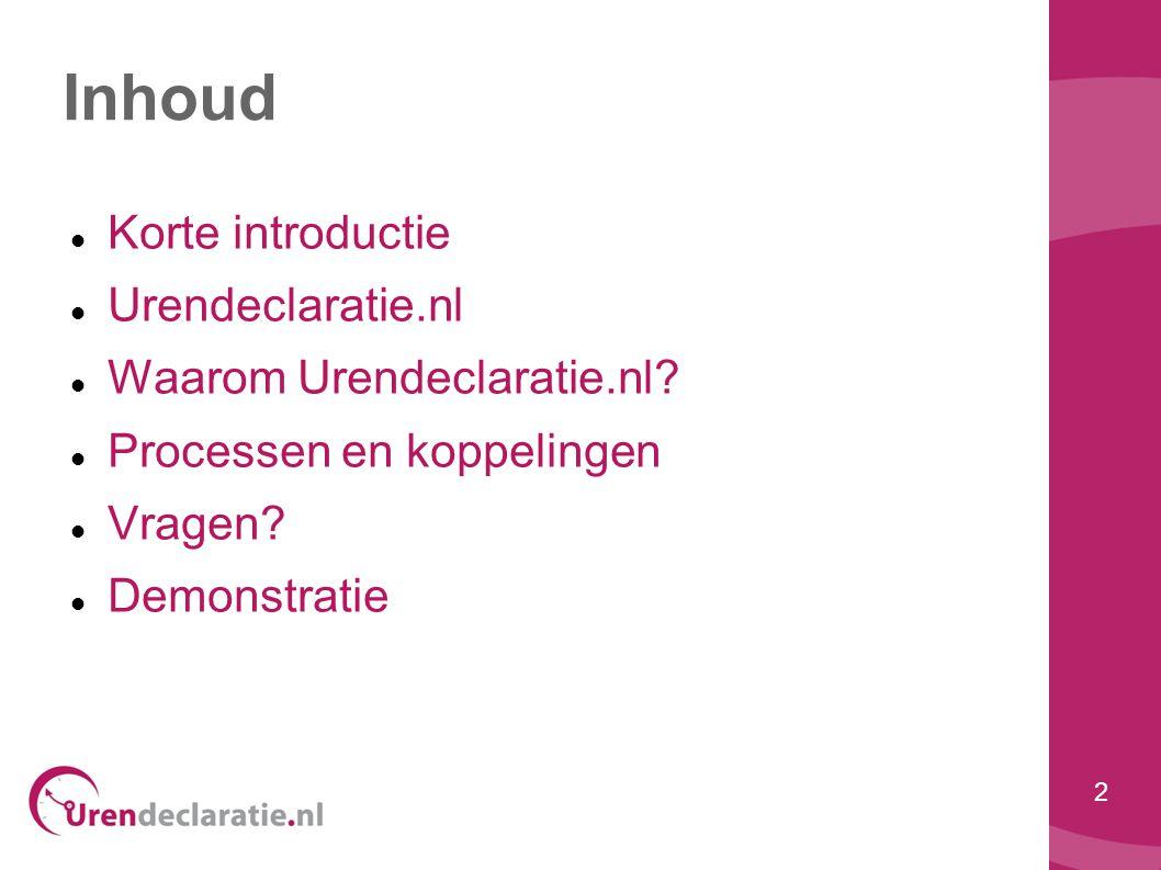 2 Inhoud  Korte introductie  Urendeclaratie.nl  Waarom Urendeclaratie.nl?  Processen en koppelingen  Vragen?  Demonstratie