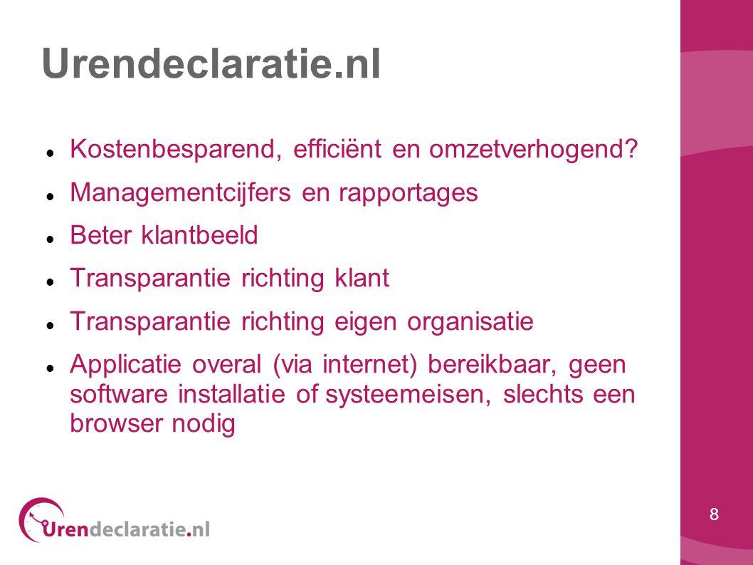 8 Urendeclaratie.nl  Kostenbesparend, efficiënt en omzetverhogend?  Managementcijfers en rapportages  Beter klantbeeld  Transparantie richting kla