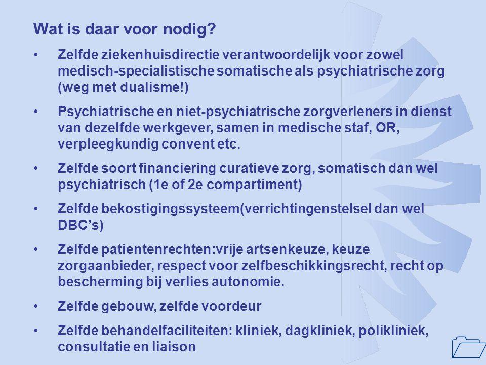 1 Randvoorwaarde voor verbetering van kwaliteit en beschikbaarheid van ziekenhuispsychiatrie: Ziekenhuispsychiatrie heeft positie in het ziekenhuis di