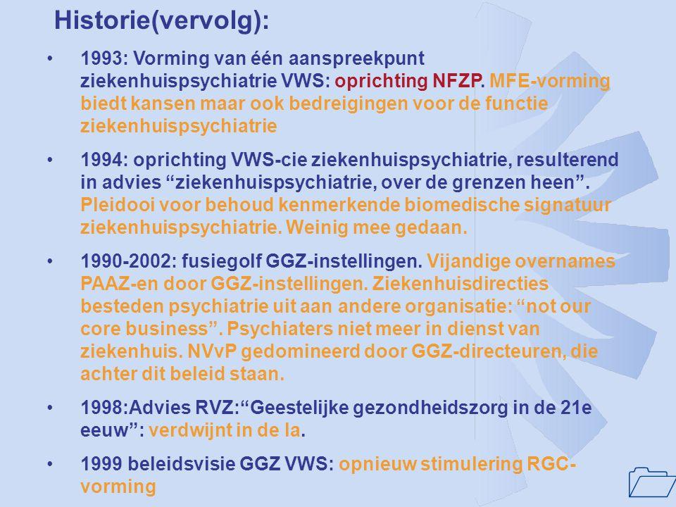 1 Historie(vervolg): •1984: nieuwe nota: overheidsbeleid gericht op vermaatschappelijking van de geinstitutionaliseerde GGZ door MFE, later RGC-vormin
