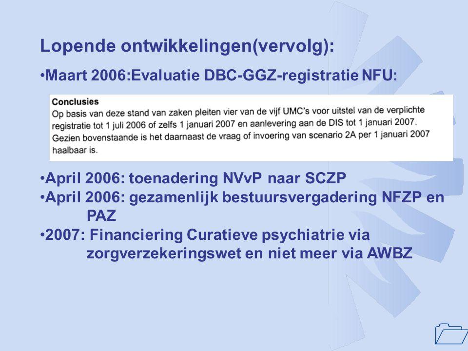 1 Recente ontwikkelingen: •Juli 2005: brandbrief SCZP aan partijen over gedrocht DBC- GGZ voor PAAZ-en en PUK's •September 2005: brief SCZP aan R.Kahn