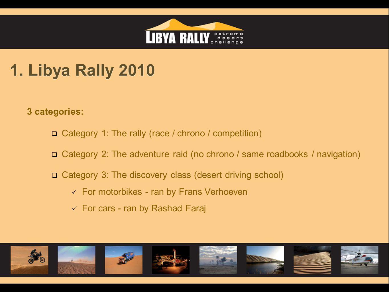 1. Libya Rally 2010 3 categories:  Category 1: The rally (race / chrono / competition)  Category 2: The adventure raid (no chrono / same roadbooks /
