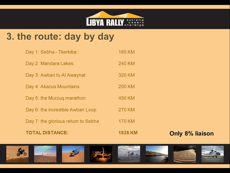 3. the route: day by day Day 1: Sebha - Tkerkiba : 185 KM Day 2: Mandara Lakes: 240 KM Day 3: Awbari to Al Awaynat320 KM Day 4: Akacus Mountains200 KM