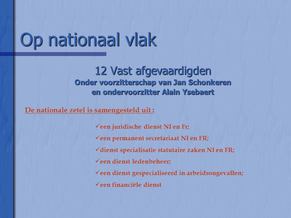 Op nationaal vlak 12 Vast afgevaardigden Onder voorzitterschap van Jan Schonkeren en ondervoorzitter Alain Ysebaert De nationale zetel is samengesteld