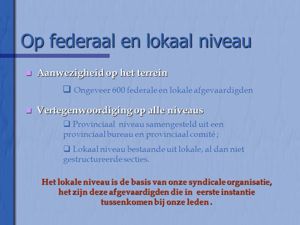 Op federaal en lokaal niveau  Aanwezigheid op het terrein  Ongeveer 600 federale en lokale afgevaardigden  Vertegenwoordiging op alle niveaus  Pro