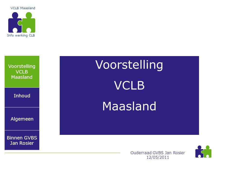 Voorstelling VCLB Maasland Inhoud Algemeen Binnen GVBS Jan Rosier VCLB Maasland Ouderraad GVBS Jan Rosier 12/05/2011 Info werking CLB Voorstelling VCLB Maasland