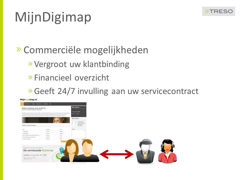 MijnDigimap Commerciële mogelijkheden Vergroot uw klantbinding Financieel overzicht Geeft 24/7 invulling aan uw servicecontract
