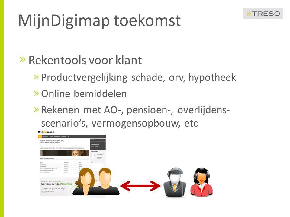 MijnDigimap toekomst Rekentools voor klant Productvergelijking schade, orv, hypotheek Online bemiddelen Rekenen met AO-, pensioen-, overlijdens- scena