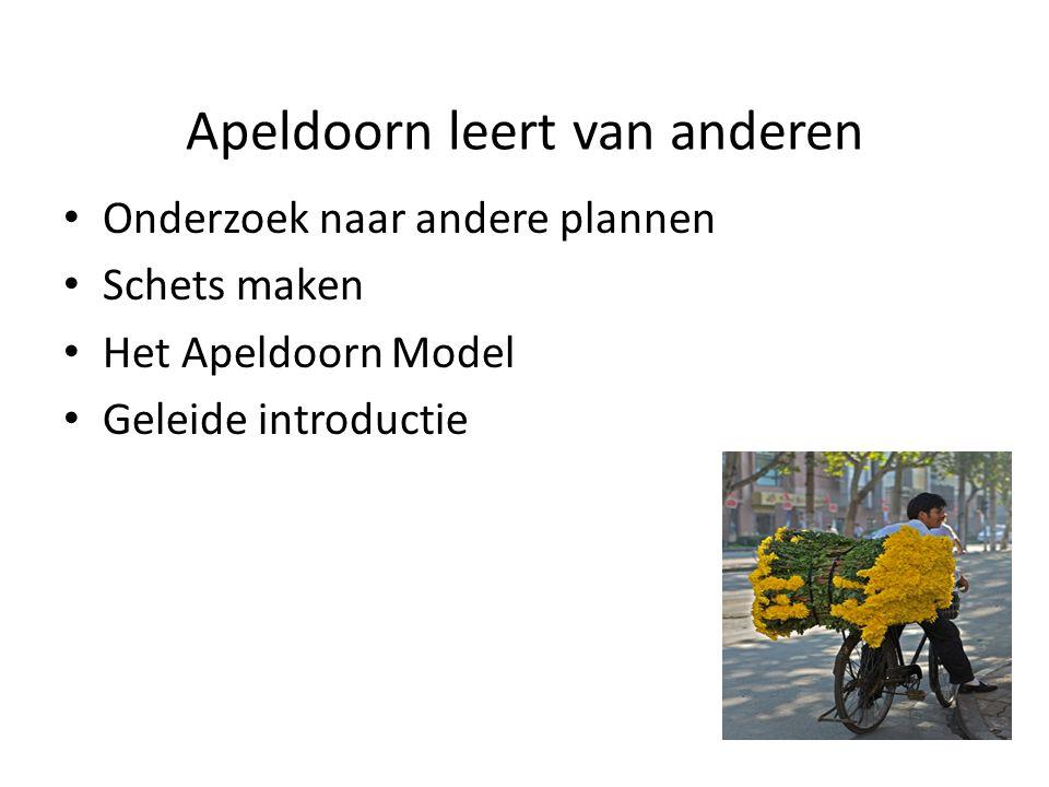 Apeldoorn leert van anderen • Onderzoek naar andere plannen • Schets maken • Het Apeldoorn Model • Geleide introductie