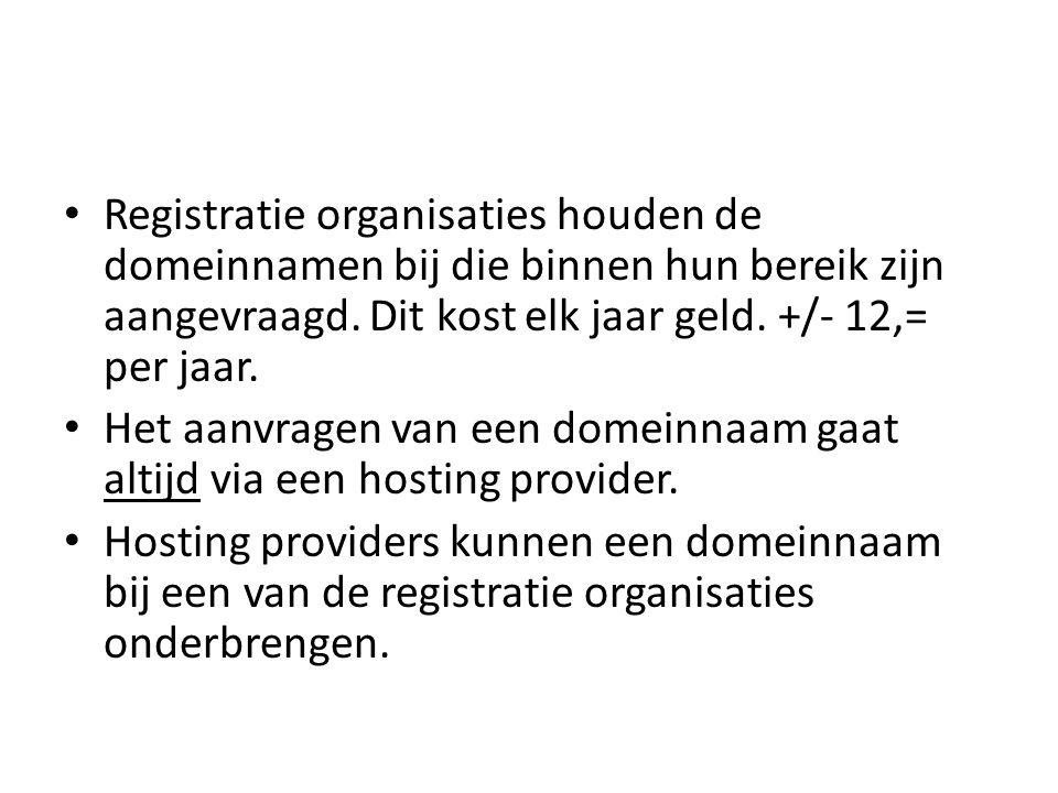 • Registratie organisaties houden de domeinnamen bij die binnen hun bereik zijn aangevraagd.
