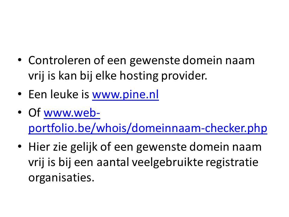 subdomeinen • Een website naam kan zijn: • www.hcchaaglanden.nl www.hcchaaglanden.nl • Maar ook: • fsgroep.hcchaaglanden.nl fsgroep.hcchaaglanden.nl • Dit is dan een subdomein en is door de website beheerder (webmaster) van de betreffende website zelf te definiëren.