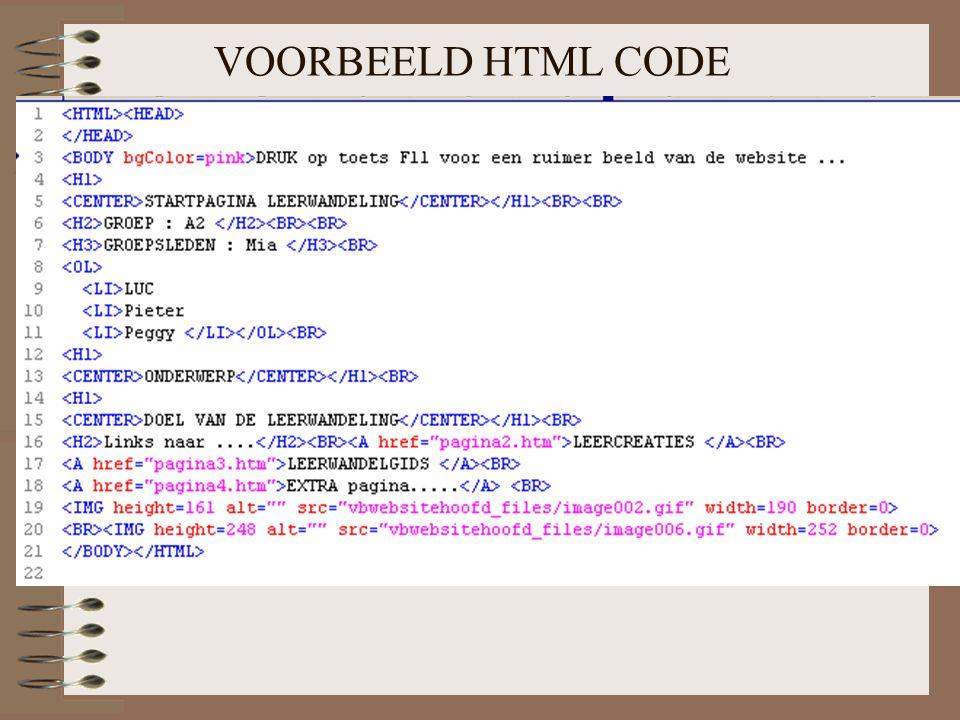 VOORBEELD HTML CODE