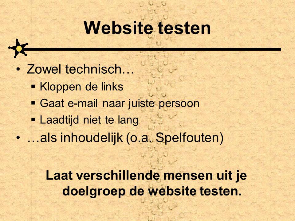 Website testen •Zowel technisch…  Kloppen de links  Gaat e-mail naar juiste persoon  Laadtijd niet te lang •…als inhoudelijk (o.a. Spelfouten) Laat