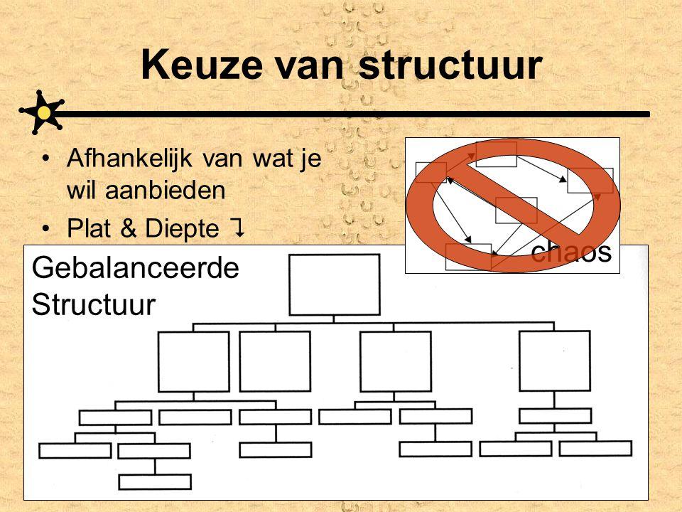 Keuze van structuur •Afhankelijk van wat je wil aanbieden •Plat & Diepte  Gebalanceerde Structuur chaos