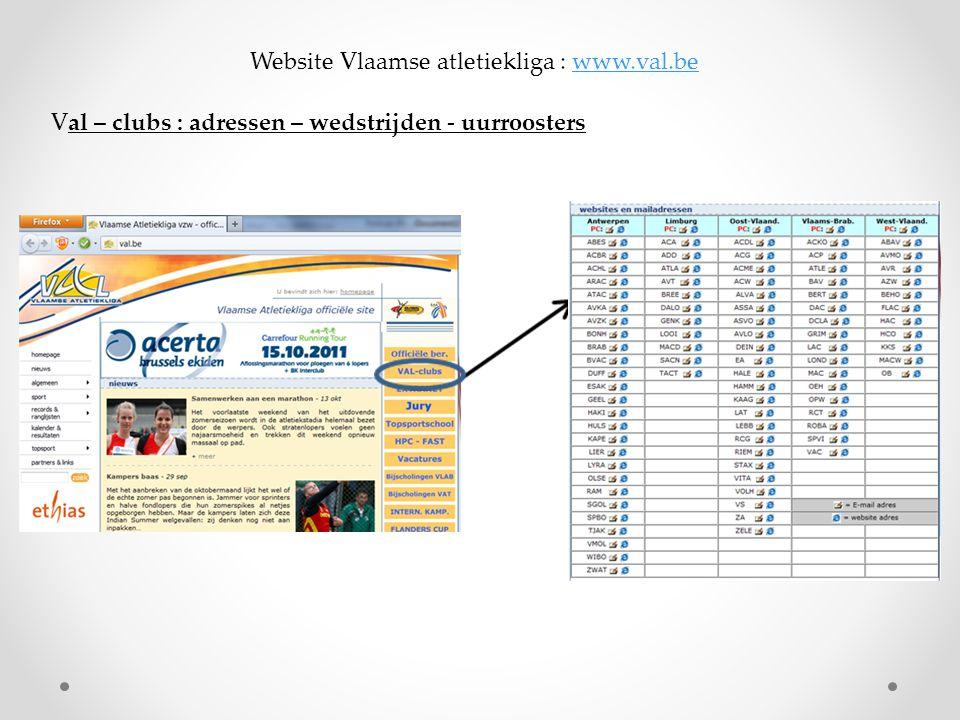 Website Vlaamse atletiekliga : www.val.bewww.val.be Val – clubs : adressen – wedstrijden - uurroosters