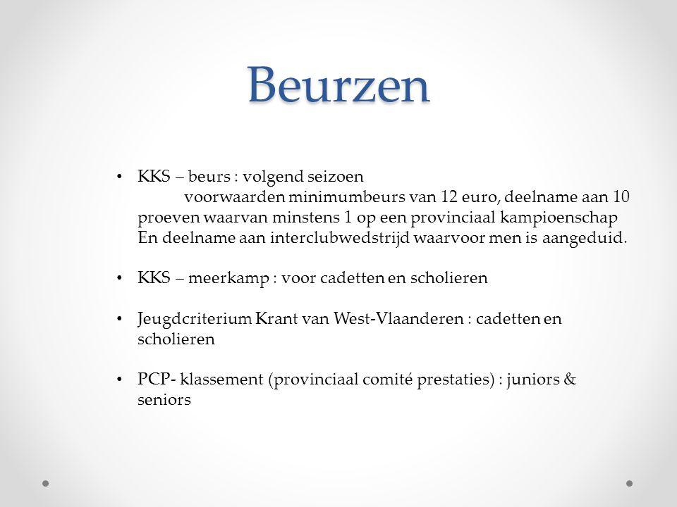 Beurzen • KKS – beurs : volgend seizoen voorwaarden minimumbeurs van 12 euro, deelname aan 10 proeven waarvan minstens 1 op een provinciaal kampioensc