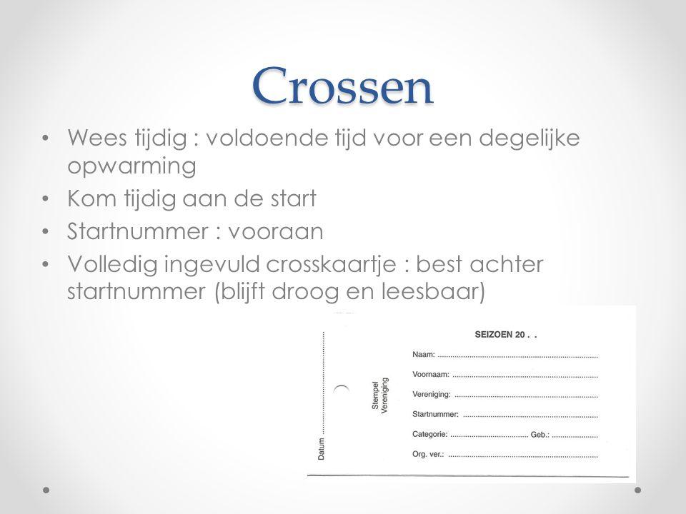 Crossen • Wees tijdig : voldoende tijd voor een degelijke opwarming • Kom tijdig aan de start • Startnummer : vooraan • Volledig ingevuld crosskaartje