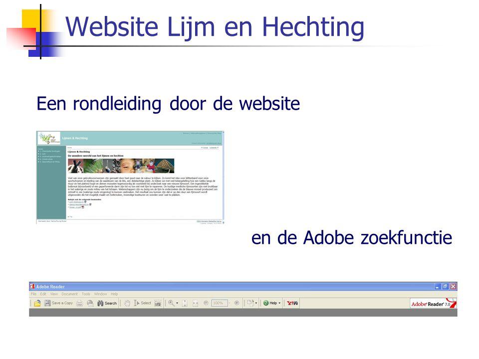 Website Lijm en Hechting Een rondleiding door de website en de Adobe zoekfunctie