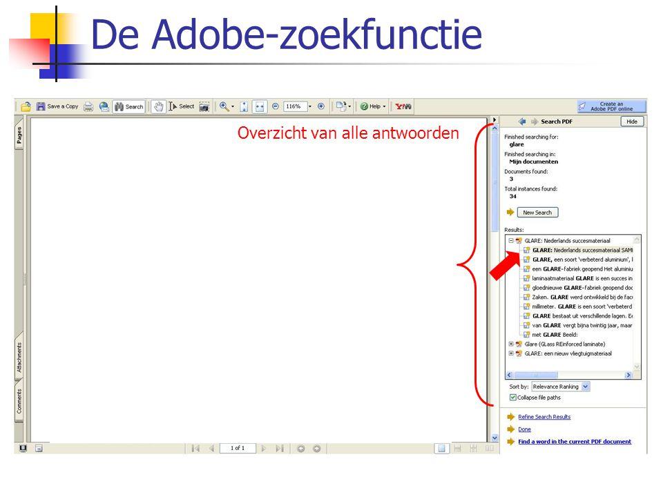 De Adobe-zoekfunctie Overzicht van alle antwoorden