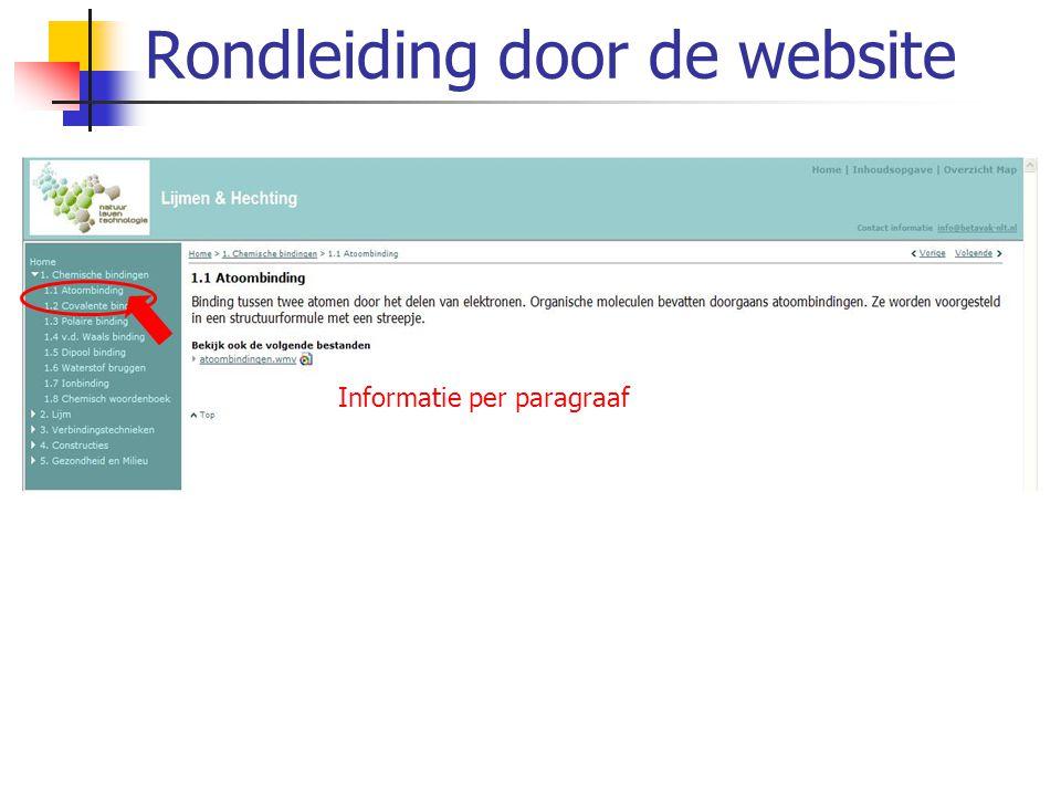 Rondleiding door de website Bestanden Filmpjes via RealPlayer Alle informatie in zoekbare PDF-bestanden