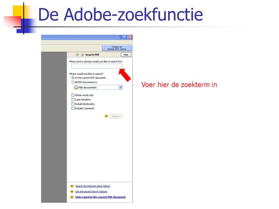 De Adobe-zoekfunctie Voer hier de zoekterm in